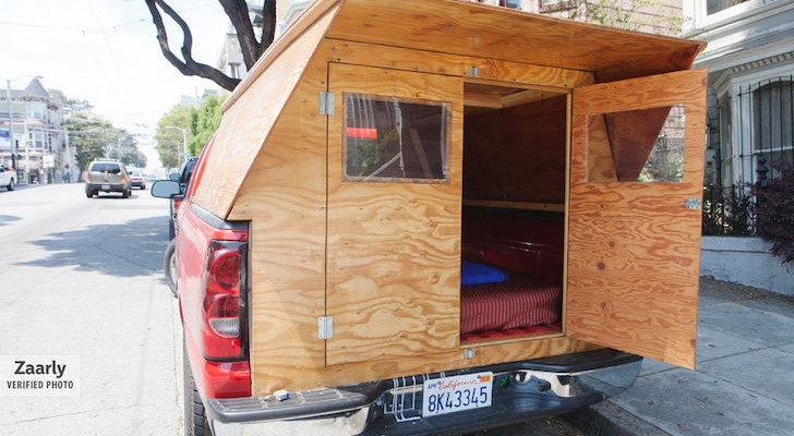 Custom wooden truck camper