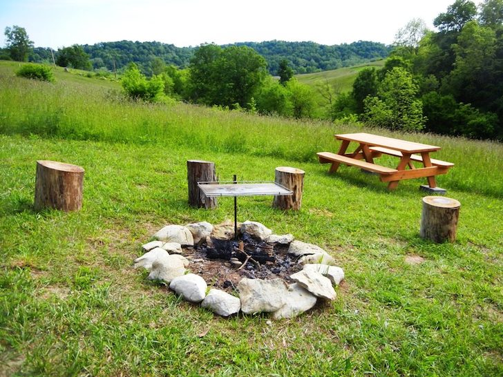 Fire pit and picnic table