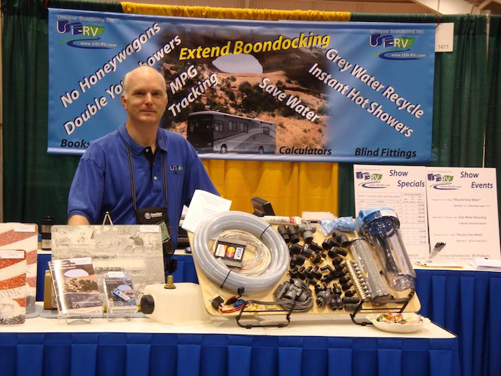 Greg Corwin in front of his USI RV gray water recycling kit