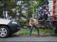 How To Mount Your Motorcycle On The Back Of Your Class A Motorhome And Still Tow Your Car.