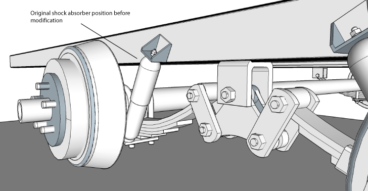 Image showing original shock position before modification