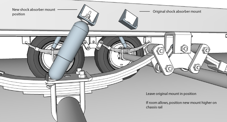 Image showing shock absorber mount before and after flipping the axle position