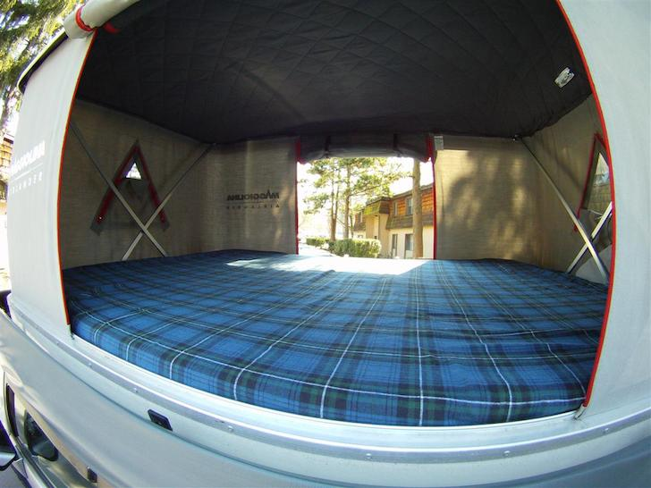 Inside the Maggiolina AirLand with the roof cranked up & AutoHome Maggiolina AirLand: A Refined Roof Top Tent