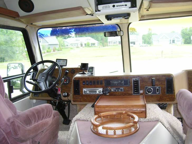 Inside the cockpit area of a 1988 Amera Cruiser