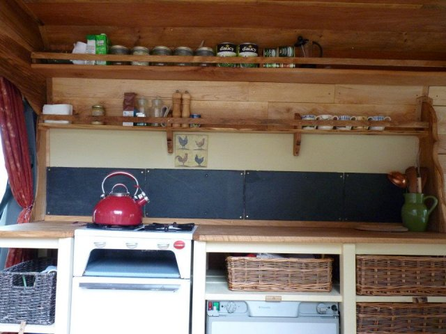 Kitchen area and spice racks