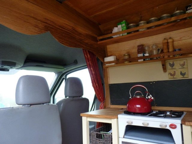 Kitchen is right behind the cab