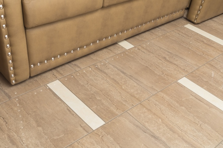 Large polished tiles on the floor