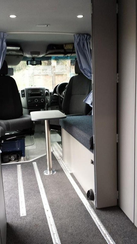 Looking into the Sprinter from the rear doors