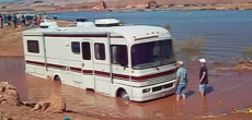 This Person Thought He Could Drive A Motorhome Through A Mud Pit. He Was Wrong.