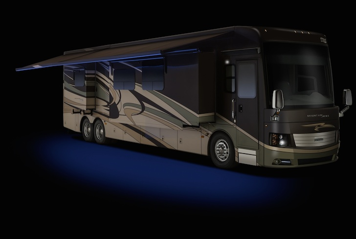 Mountain Aire motorhome with power awning and LED lights