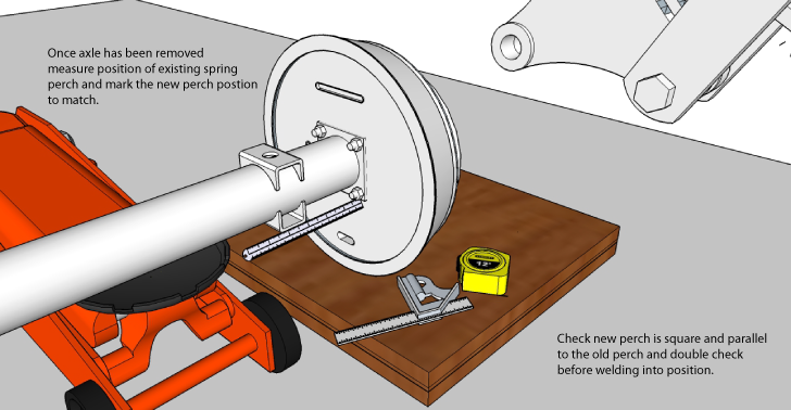 Once the axle has been removed, measure the position of existing spring perch
