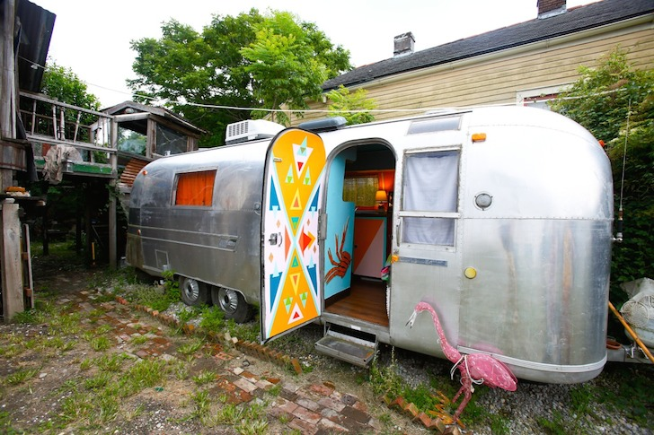 Outside of Rusty Lazer's renovated 1976 Airstream trailer