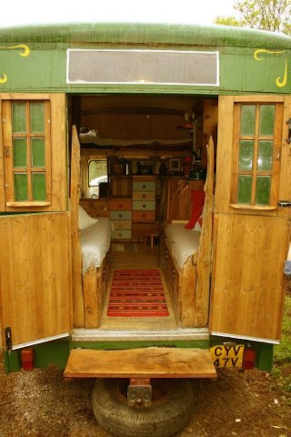 Rear entry to the custom camper