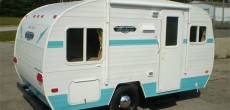 Riverside RV blue and white retro look