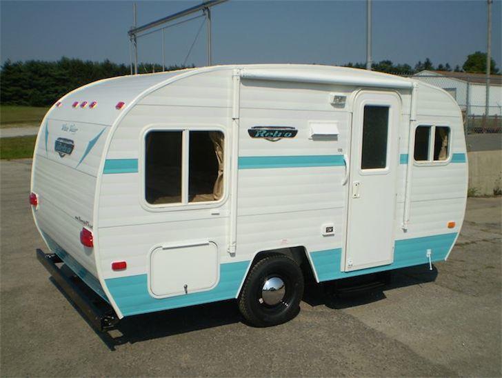 Riverside RV blue and white retro look