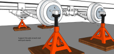 Support the axle at each end with jack stands