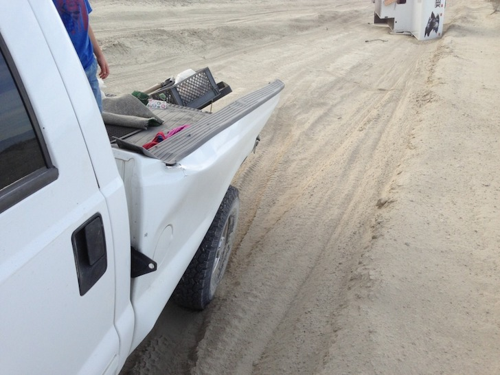 The truck had a bent bed rail