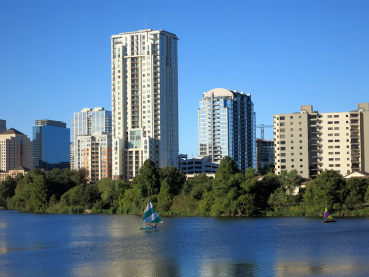 View of Lady Bird Lake from the trail