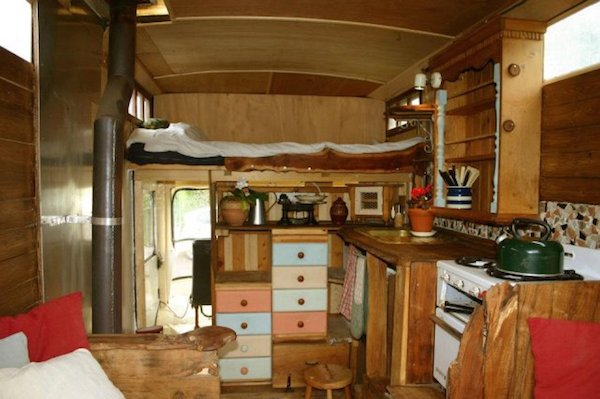 View of the entire interior of the custom made camper