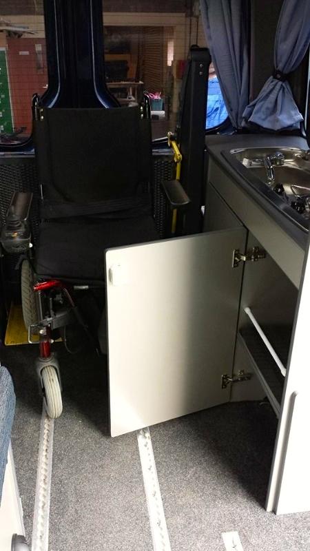 Wheel chair in storage position