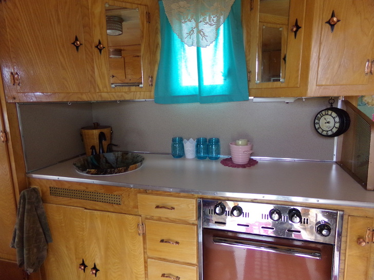 Kitchen in a Kenskill camper