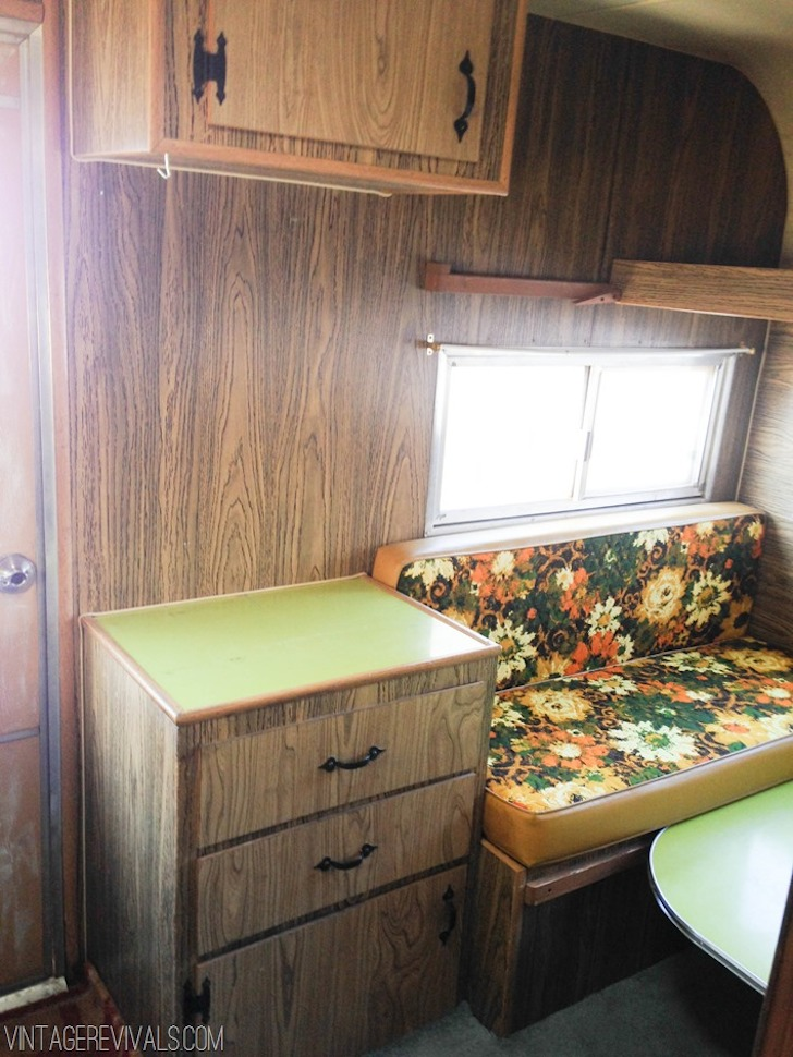1973 Bell travel trailer before renovation from Vintage Revivals