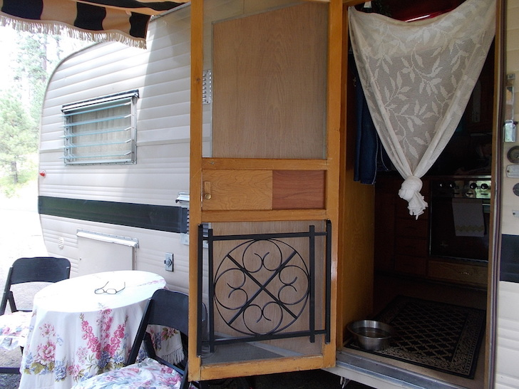 Open door on a 1959 Kenskill trailer