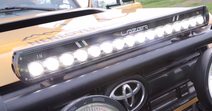 A special light bar on the front of the rig makes off-roading at night safer and easier