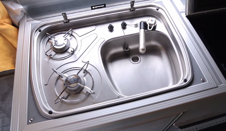 And a two-burner cooktop with sink
