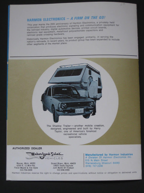 Back cover of Harmon Industries Shadow marketing brochure