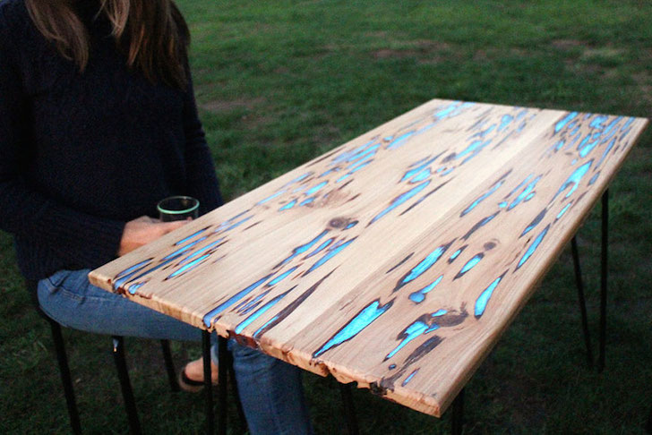 Completed glow in the dark table made from Pecky Cypress