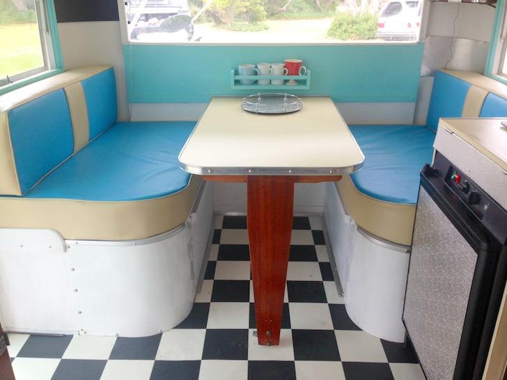 Dinette inside 1955 CARAPARK caravan