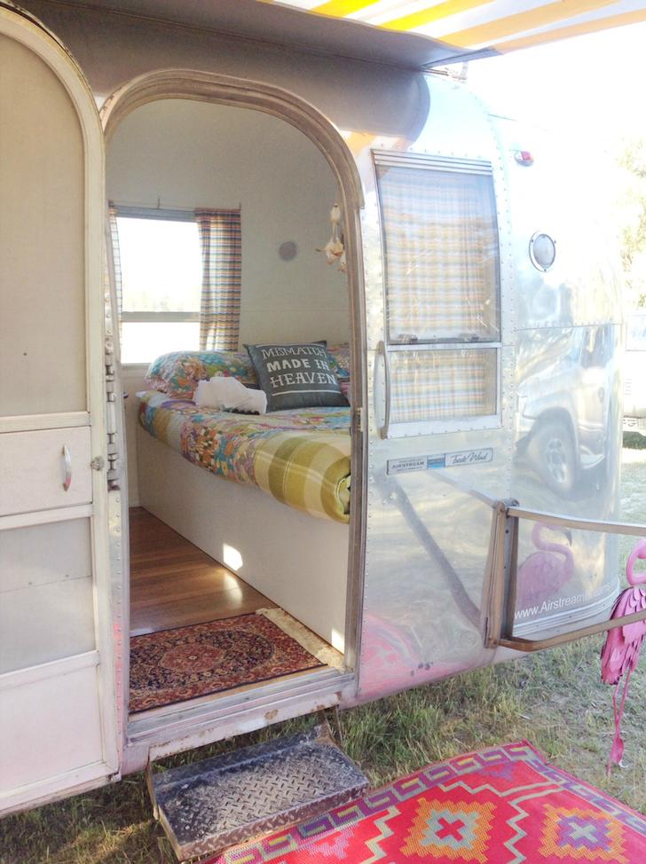 Entrance to a vintage Airstream