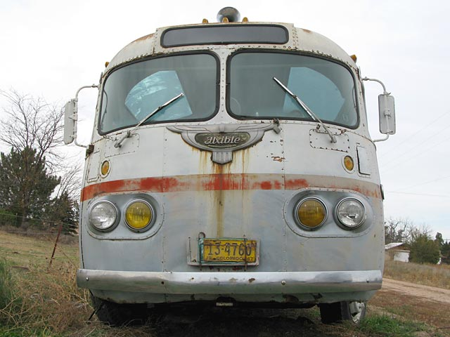 Front of a vintage Flxible bus