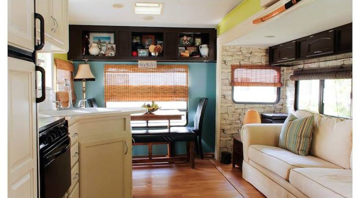 Great room with closed storage and repurposed bamboo blinds