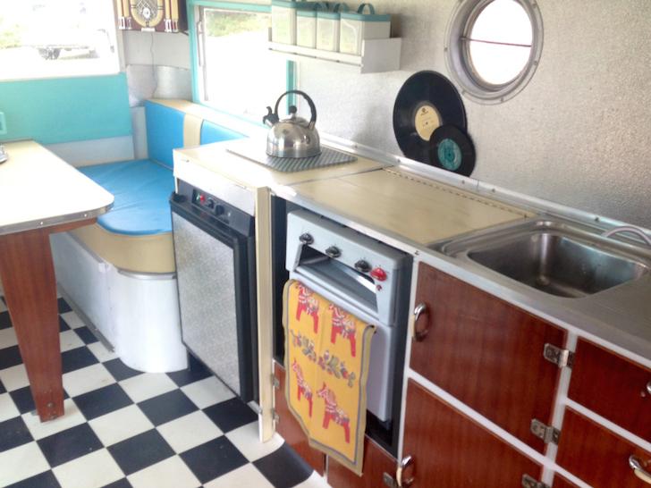 Inside a 1955 CARAPARK Hunter Sixteen Two caravan