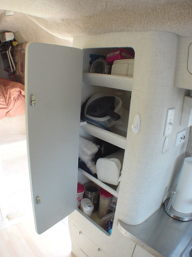 Kitchen cabinets in a custon Scamp trailer