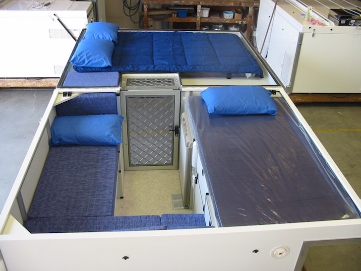 Looking toward the front of a Trayon camper