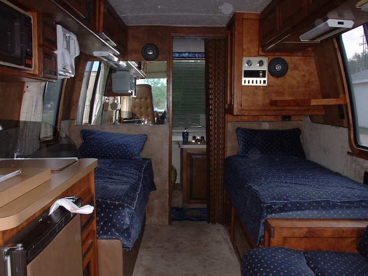 Looking toward the rear in a 1977 GMC motorhome