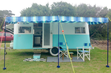 This Adorable 1955 CARAPARK Hunter Sixteen Two Is Now A Mobile Glamping Pad