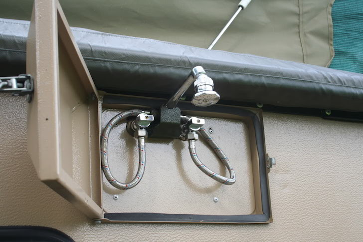 Outdoor shower on a Conqueror Commander camper
