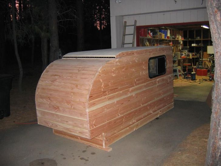 Outer shell of a Douglas fir camper