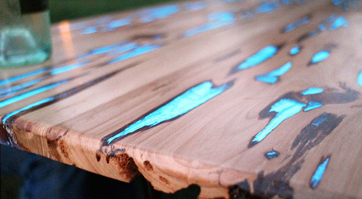 Pecky Cypress glow in the dark table