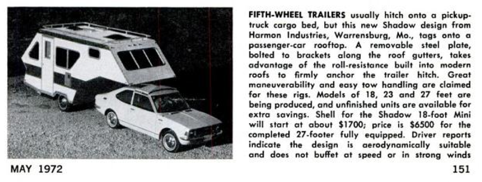 Popular Mechanics featuring the Harmon Shadow in May 1972