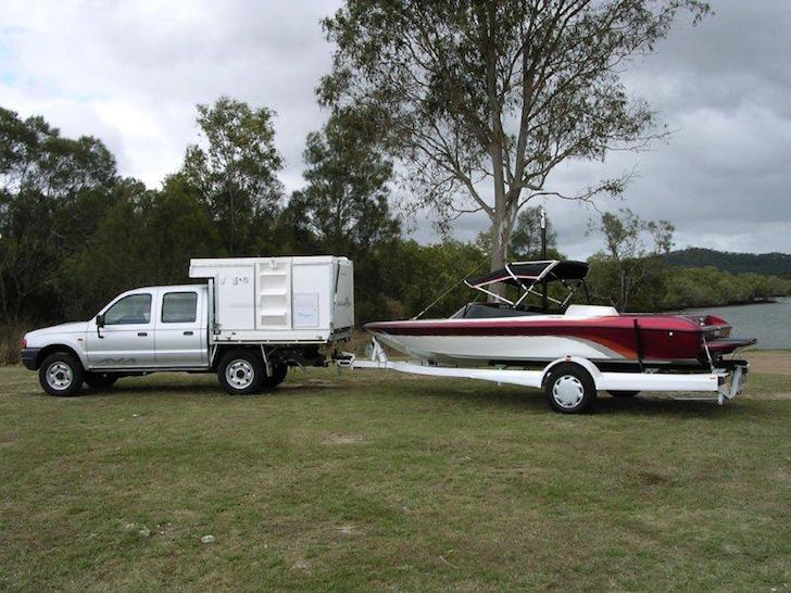Pulling a boat with installed Trayon camper