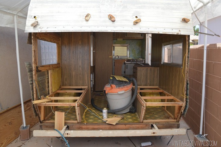 Vintage trailer during renovation from Vintage Revivals