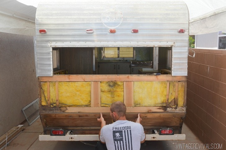 Working on the 1973 Bell travel trailer from Vintage Revivals