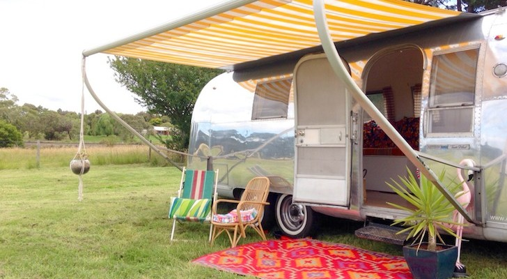 You can stay right on the beach in this vintage Airstream