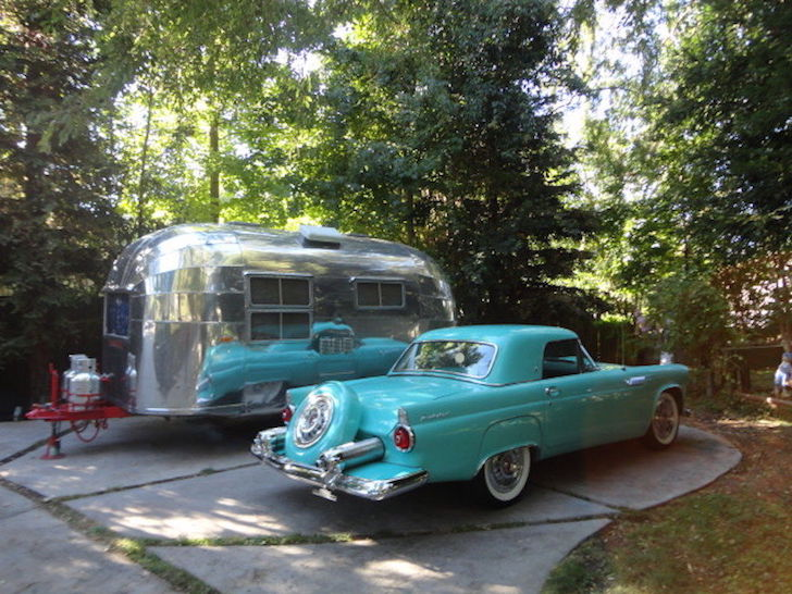 1950s car with vintage Airstream