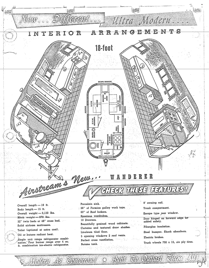 1954 Airstream Wanderer floor plans